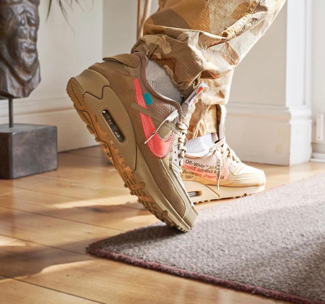 "Air Max 90 x OFF WHITE ""沙漠黄"" ""黑白"""